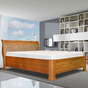 London Rustic Bed without footboard with drawers